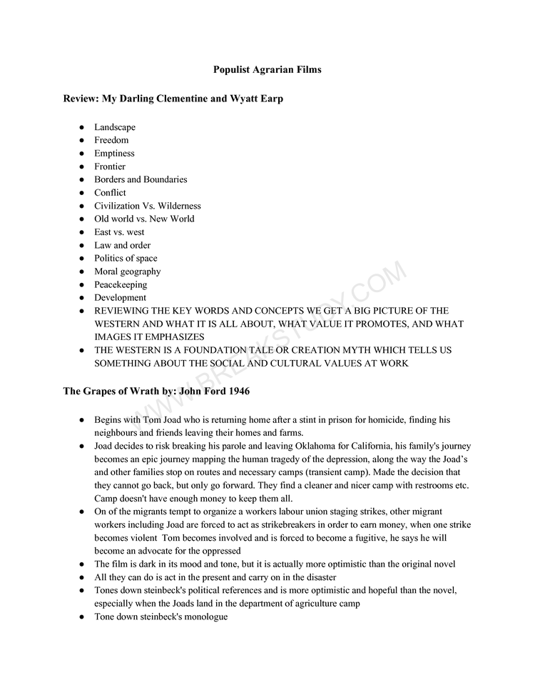 Lecture #2 populist agrarian film Page 1