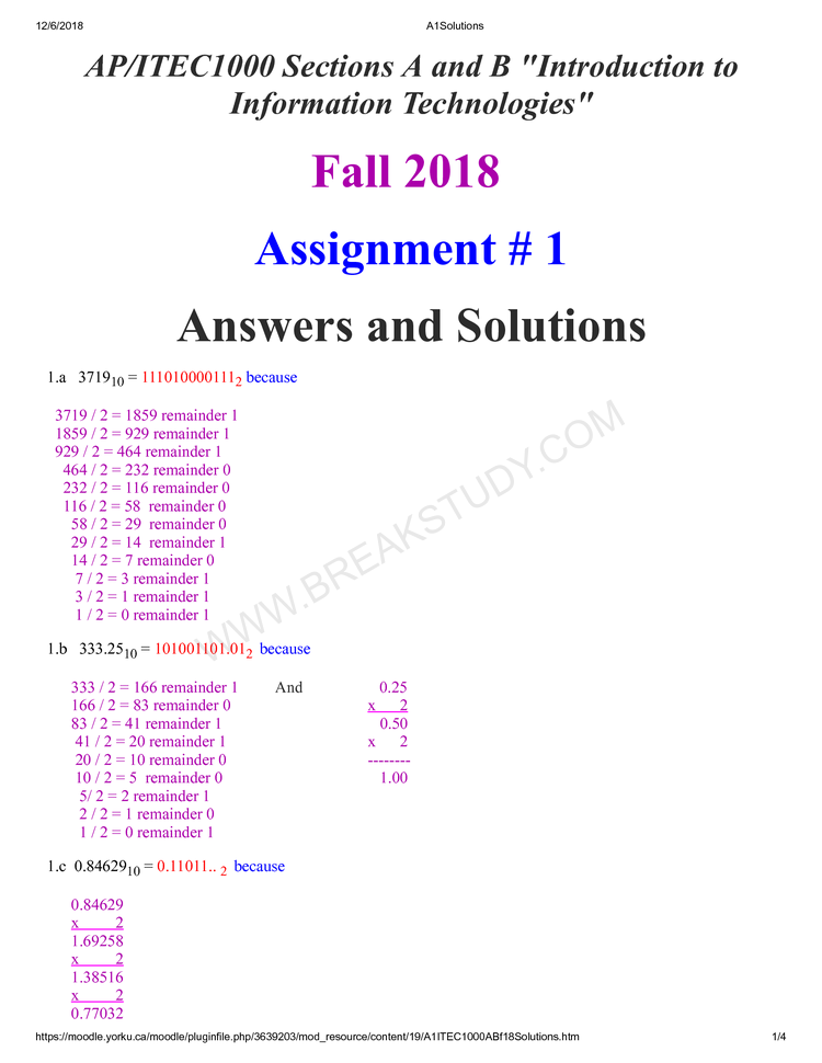 assignment A1 fall 2018 Page 1