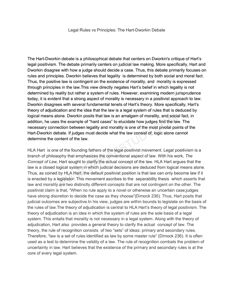 Philosophy of Law final essay -- Legal Rules vs Principles: The Hart-Dworkin Debate Page 1